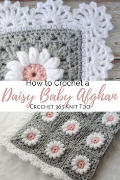 Crochet crafts 834503005938455158 - This is the cutest baby afghan ever! Such a perfect gift to welcome a beautiful little girl into the world. Crochet Afghans, Baby Afghan Crochet Patterns, Granny Square Crochet Pattern, Crochet Motif, Baby Blanket Crochet, Crochet Yarn, Crochet Hooks, Crochet Daisy, Beginner Crochet Patterns
