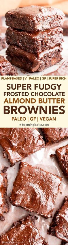 Chocolate Almond Butter Frosted Fudgy Paleo Brownies (V, GF): a one bowl recipe for super fudgy brownies topped with rich chocolate almond butter frosting!