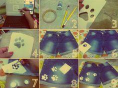 Flaviland  : ♥ DIY: Faça você mesmo shorts jeans com patinhas de gato ♥ short with ducklings cat ♥ shorts corto con patitos gato ♥