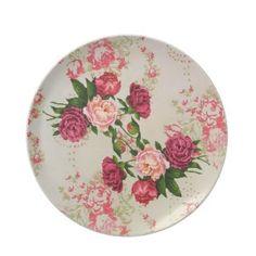 Shabby Pink Roses Plate-plates, dinner plate, kitchen, shabby chic roses, shabby decor, pink roses, cottage roses, dinner ware, gift,