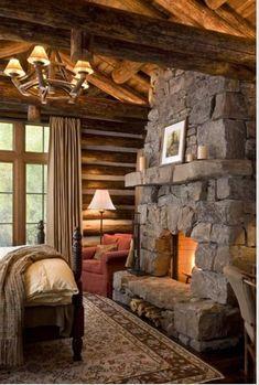 Cozy Cabin Bedroom - LOVE the stone fireplace! Guest Cabin, Cozy Cabin, Winter Cabin, Cozy Cottage, Log Home Bedroom, Master Bedroom, Cozy Bedroom, Bedroom Retreat, Log Cabin Bedrooms
