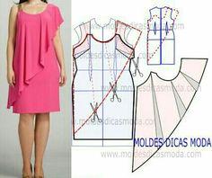 Risultati immagini per moldesedicasmoda Dress Sewing Patterns, Blouse Patterns, Clothing Patterns, Blouse Designs, Women's Clothing, Fashion Sewing, Diy Fashion, Ideias Fashion, Fashion Dresses