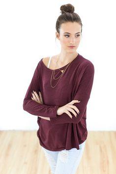Longsleeves - Shirt Snuggs in weinrot - ein Designerstück von Shoko bei DaWanda