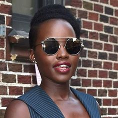 Lupita Nyongo looking so chic  wearing EF Collection partial diamond Flying V studs! Styled by @micaelaerlanger  Xo, EF