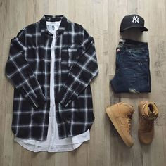 Outfit grid - Black & white checks