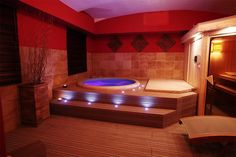Indoor Softub set up! So nice and relaxing! Jacuzzi Room, Spa Jacuzzi, Indoor Jacuzzi, Home Spa Room, Spa Room Decor, Home Cinema Room, Deco Spa, Hot Tub Surround, Hot Tub Room