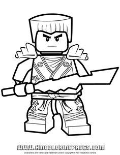 New Ninjago Coloring Pages | Ninjago Zane KX With Elemental Blade Coloring Page