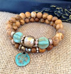 Jasper Set Stretch Bracelets CopperPatina by CountryChicCharms, $56.00