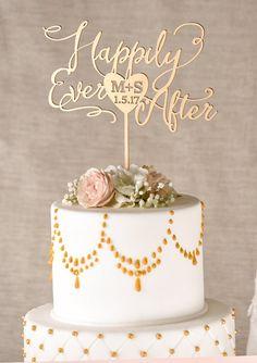 Gold Cake Topper Golden Wedding Cake Topper Happily Ever After Cake - http://wedding-cake-topper.com/gold-cake-topper-golden-wedding-cake-topper-happily-ever-after-cake/