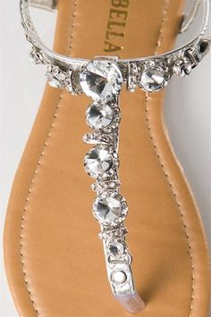 Multi Jeweled Thong Sandal - Silver from Sandals at Lucky 21