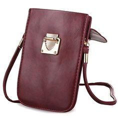 Bosam Mini Bag Cellphone pouch purse woman crossbody Wallet Case for  Smartphone with Strap (Wine Red) Apparel Accessories Handbags 5bc9622203533