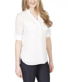 Another great find on #zulily! Simply Irresistible Ivory Roll-Tab Sleeve Button-Front Top by Simply Irresistible #zulilyfinds