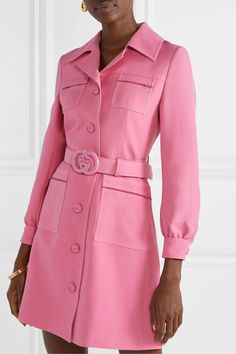 Gucci - Belted wool and silk-blend cady mini dress Gucci Dress, Gucci Outfits, Blazer Outfits, Blazer Dress, Fashion Outfits, Work Outfits, Fast Fashion, Slow Fashion, Mark Cross