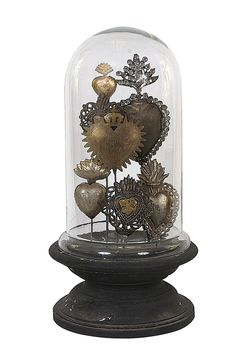 Chateau Decorative Tin Sacred Hearts on Wood Pedestal with Glass Cloche