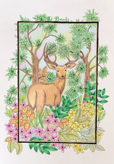 Deer in the woods by Robert Roskam Colouring, Adult Coloring, Woods, Deer, Moose Art, Animals, Adult Colouring In, Animales, Animaux