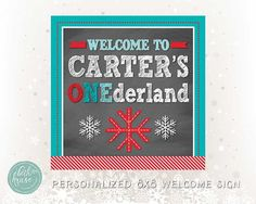 Winter ONEderland Personalized 8x8 inch Welcome Sign by Beth Kruse Custom Creations