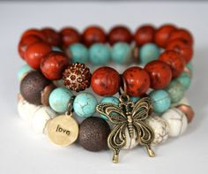 Boho Chic Butterfly and Love Charm Stretch Beaded Bracelets Impression Stone, Turquoise and Howlite Stretch Bracelets
