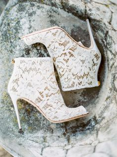 We're swooning over these chic lace booties: Photography: Yaroslav & Jenny Lace Booties, Lace Heels, Shoes Heels, Converse Shoes, Adidas Shoes, Shoes Sneakers, Dress Shoes, Fall Wedding Shoes, Wedding Heels