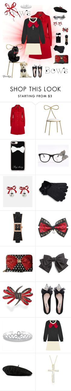 """""""All about the Bows"""" by tarakaypoly ❤ liked on Polyvore featuring Boutique Moschino, PBteen, Casetify, Avenue, UGG, Kate Spade, Disney, Betsey Johnson, Cara and Stephen Webster"""