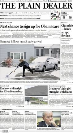 The Plain Dealer's front page for November 14, 2014 #cleveland #newspaper