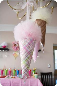 sweet shop party idea~ this is a great idea of using tulle and scrapbook paper for ice cream party cone decorations. I think I have already pinned this somewhere, but Im going to make some of these to put on Ks Christmas tree!!!