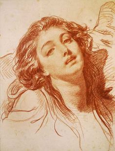 Jean-Baptiste Greuze  Head of Woman 1765 16.95 x 13 in , Red Chalk , Private Collection