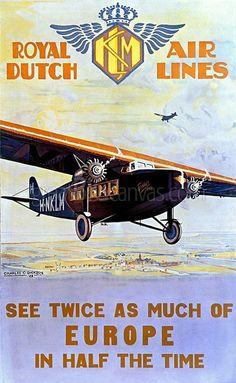 Historisches Plakat der KLM. Ein Replikat ziert mit braunem Holzrahmen mein Arbeitszimmer