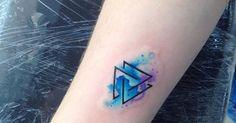 Tattoo Artist: Adrian Bascur. Tags: styles, Watercolor, Symbols, Celtic Symbols, Nordic Symbols, Triquetra, Valknut, Religious, Geometric Shapes, Triangle. Body parts: Forearm.