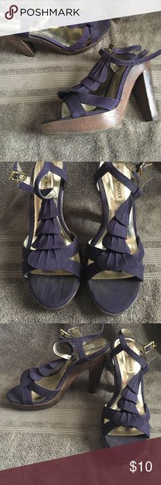 Steve Madden heels Purple fabric with wooden bottom. Hardly worn! Perfect for spring/summer. Steve Madden Shoes Heels