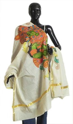 Off-White Kasavu Chunni with Temple Mural Painting - 88 x 39 inches Fashion Now, India Fashion, Painted Pots, Hand Painted, Off White Saree, Kasavu Saree, Kerala Mural Painting, Kurta Designs, Mural Art