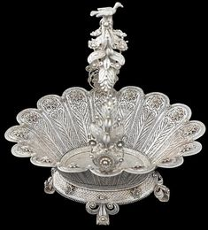 Exceptional Silver Filigree Basket Ottoman Turkey 18th-19th century