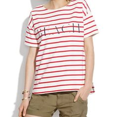 Madewell beach tee Thick cotton slightly oversized tee. Cream with red stripes and navy lettering. Worn once. Machine wash. Madewell Tops
