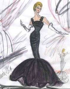 """Rosemary Clooney, Edith Head sketch from """"White Christmas"""" for the """"Love, You Didn't Do Right By Me"""" number."""