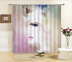 Girl Art Photo Curtain Printing Curtains Drapes Fabric Window CA 3d Curtains, Printed Curtains, Shower Curtain Art, Graffiti, Photo Wall Stickers, Door Murals, Draped Fabric, Wall Art Designs, Elegant Woman