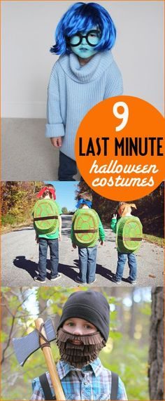 9 Last Minute Halloween Costumes.  DIY Costumes for all ages.  Halloween costumes that won't disappoint but are easy to assemble.  Halloween costumes made from stuff lying around the house.