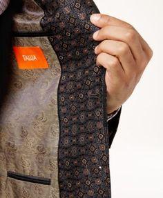 Tallia Men's Slim-Fit Black/Brown Medallion Sport Coat - Brown 40S