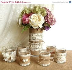 3 DAY SALE burlap and lace covered votive tea candles and vase country chic wedding decorations, bridal shower decor, home decor