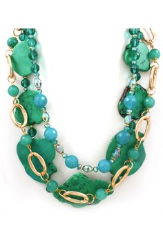 Emerald Turquoise and Agate Necklace