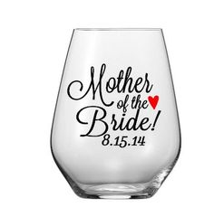 Single DIY Mother of the Bride/Groom Wine Glass Decals, Glass NOT included  WATCH THE TUTORIAL ON HOW TO APPLY THESE HERE: