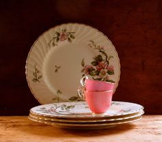 Vintage Syracuse China Dinner Plates, Pink and White Dishes, Apple Blossom Flower Pattern, Set of Four, 1950s Tableware