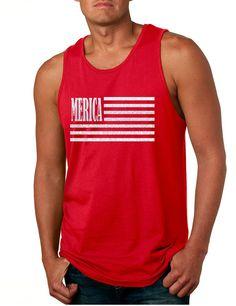 4dac859ad29fa Men s Tank Top Merica Glitter White Flag 4th Of July Top  tanktop  july4th