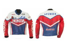 via Freddie Spencer Honda Daytona 1985 Leather Jacket This 19's replica leather jacket is designed from the Freddie Spencer 1985 race suit when he took part in the Grand Prix with Honda.