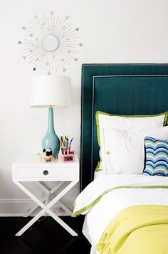headboard. Home Tour: A Preppy Connecticut House With Ladylike Details via @domainehome