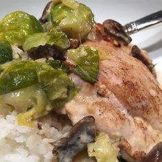 """My dilemma tonight was what to do with skinless chicken thighs. The answer: Poulet à la Crème or chicken sautéed in a cream sauce. This is one of those one skillet meals that's definitely worthy of a try. I added Brussels sprouts along with a couple of """"secret"""" ingredients that I will share with you #ontheblog tomorrow. I served it over white rice although you could easily exchange it with amaranth farro quinoa or brown rice. Delicious! #wisconsinhomemaker"""