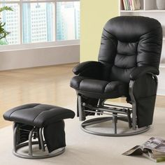 Coaster Deluxe Swivel Glider and Ottoman in Black Leatherette Coaster Home Furnishings http://www.amazon.com/dp/B004BHT086/ref=cm_sw_r_pi_dp_hIcKtb0H6DN7PNPK