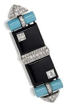 An Art Deco Onyx, diamond and enamel brooch, Georges Fouquet, circa 1925. The modified rectangular plaque composed of two onyx squares, each inset with a French-cut diamond, separated by three vertical rows of old-mine and single-cut diamonds, the sides formed of cylindrical motifs applied with turquoise enamel with diamond-set arrowhead terminals, mounted in platinum and gold, signed G. Fouquet, numbered. #Fouquet #ArtDeco #brooch