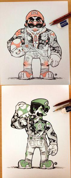 Mario y Luigi versión Yakuza. Por Eduardo Vieira.