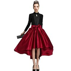 Fashion Bug Womens Casual Bow Lolita Flare Skirt Plus Size Red www.fashionbug.us #plussize #fashionbug 1X 2X 3X