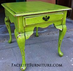 Lime Green End Table Distressed with a Chain. From Facelift Furniture's End Tables collection.