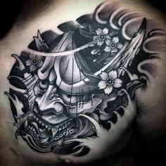 100 Hannya Mask Tattoo Designs For Men - Japanese Ink Ideas Japanese Demon Tattoo, Japanese Tattoos For Men, Japanese Tattoo Designs, Japanese Sleeve Tattoos, Tattoo Designs Men, Chest Tattoo Japanese, Japanese Hannya Mask, Oni Tattoo, Hanya Tattoo